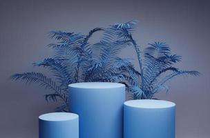minimale blauwe podiumachtergrond foto