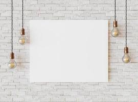 wit canvas op bakstenen muur foto