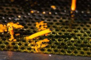 brandende smeltkaarsen ter nagedachtenis aan de doden, close-up. foto