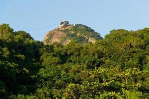 Sugarloaf Hill gezien vanaf het strand van Copacabana in Rio de Janeiro, Brazilië foto
