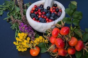 alternatieve geneeskunde met farmaceutische kruiden, fruit en bessen foto