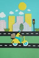 compositie in papierstijl voor stadsvervoer foto
