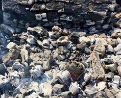 rode vlam van plakhout, donkergrijze zwarte kolen in metalen vuurpot. foto