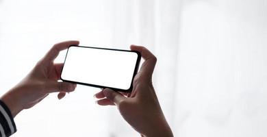 mockup afbeelding leeg wit scherm mobiele telefoon foto