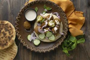 assortiment met heerlijke eiwitrijke vegan maaltijd foto