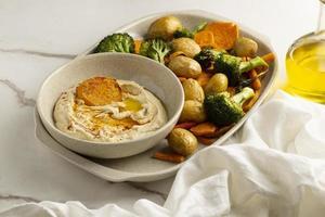 heerlijke eiwitrijke veganistische maaltijdsamenstelling foto