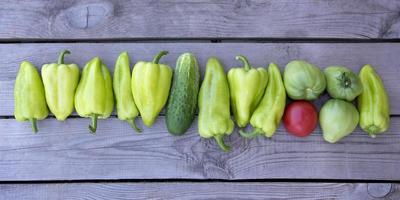Bulgaarse peper. horizontale achtergrond van paprika's, komkommers foto