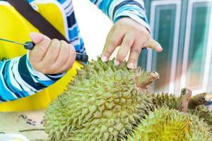 handen van vrouw die durian peel verwijdert foto