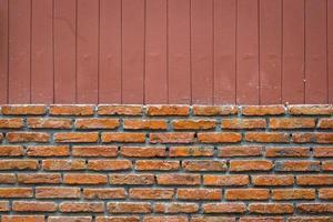 bakstenen muur met verticale lijn bruine achtergrond, gesplitst foto