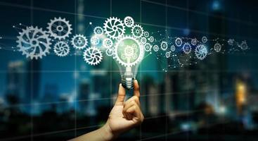 zakelijk slim idee, geweldig idee voor succes en mixed media-concept. foto