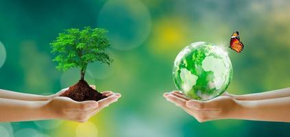 red een schone planeet, red de wereld en het milieu, ecologie. foto