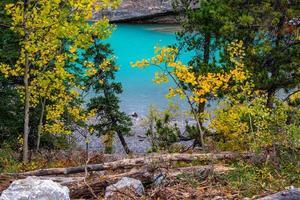 weduwenmaker stroomversnellingen. Bow Valley-wildernisgebied, Alberta, Canada foto