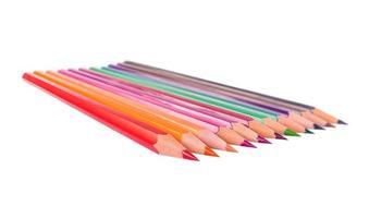 kleur potloden set geïsoleerd op een witte achtergrond foto