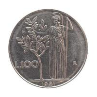 Italiaanse lira munt geïsoleerd over white foto
