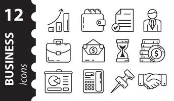 set van zakelijke pictogrammen. lineaire symbolen. vectorillustratie. foto