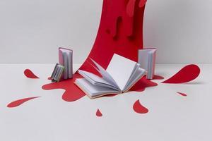 kunstonderwerp arrangement met rode verf foto