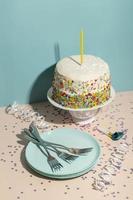 heerlijke cake-ingrediënten onder hoge hoek foto