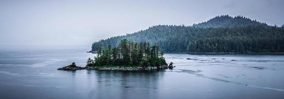 alaska natuur en bergketen met zeegezicht in juni foto
