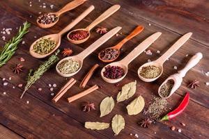 een set van specerijen en kruiden. Indiase keuken foto