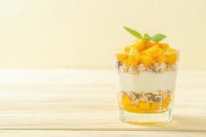 verse mangoyoghurt met muesli in glas - gezonde voedingsstijl foto