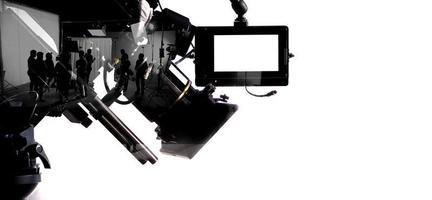 silhouetbeelden van filmproductie. Achter de schermen foto