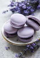 franse macarons met lavendelsmaak en verse lavendelbloemen foto