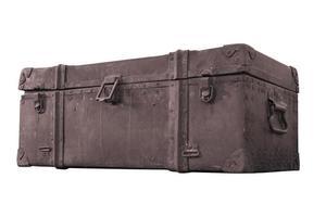 roest oude stalen doos voor vintage vuil met krassen geïsoleerd foto
