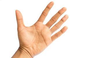 man's hand geïsoleerd op een witte achtergrond foto