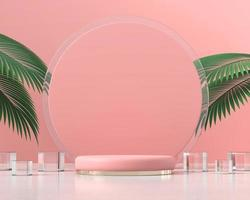 roze platformpodium voor productweergave met palmbladeren 3d render foto