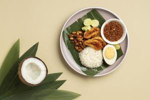 platliggende traditionele nasi lemak maaltijdsamenstelling foto