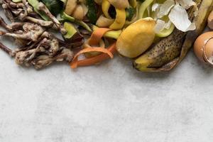 bovenaanzicht afval koken concept foto