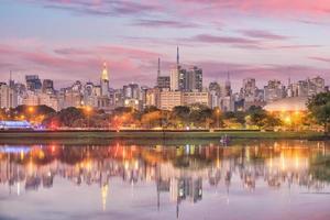 skyline van sao paulo vanaf parque ibirapuera park foto