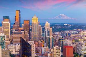 Seattle City Downtown Skyline Cityscape In De Staat Washington, Verenigde Staten foto