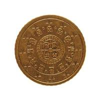 50 euro munt, europese unie, portugal geïsoleerd over wit foto