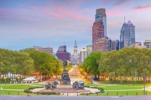 stadsgezicht van de skyline van de binnenstad van Philadelphia in Pennsylvania foto