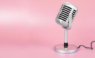 retro microfoon met kopie ruimte op roze achtergrond foto
