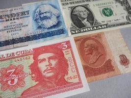 marx, washington, che guevara en lenin op bankbiljetten foto