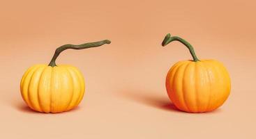 realistische pompoenen met lange stelen op pastelachtergrond foto