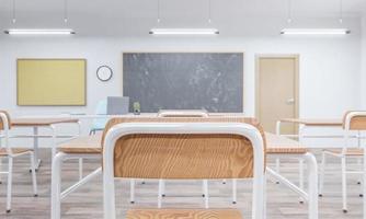 close-up van een schoolstoel in een klaslokaal foto