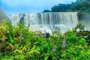 de krachtige sae pong lai-waterval in het zuiden van laos. foto