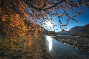 de zon weerkaatst in de rivier foto