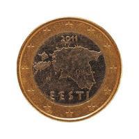 1 euromunt, europese unie, estland geïsoleerd over wit foto
