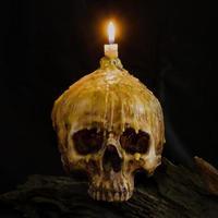 schedel met kaarslicht bovenop met uitknippad op grunge hout foto