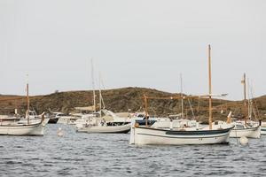 de verschillende boten die over de oceaan varen foto