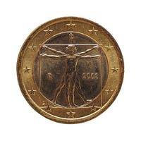 1 euromunt, europese unie, italië geïsoleerd over wit foto