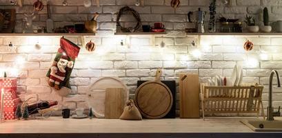 kerst keuken interieur ontwerp vooraanzicht foto