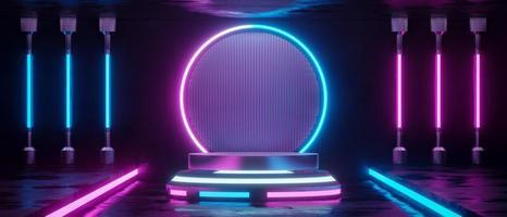 3D rendering neon lege cilinder podium. foto