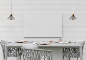 keuken met kookgerei en muurframes, 3D-stijl. foto