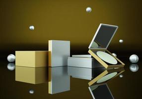 een set make-up voor veel vrouwen op een gouden achtergrond foto