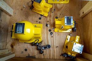 stralingsnaamplaatje van mechanische houder van procesinstrument foto
